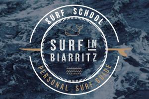 Le logo de l'école de surf de biarritz fond océan